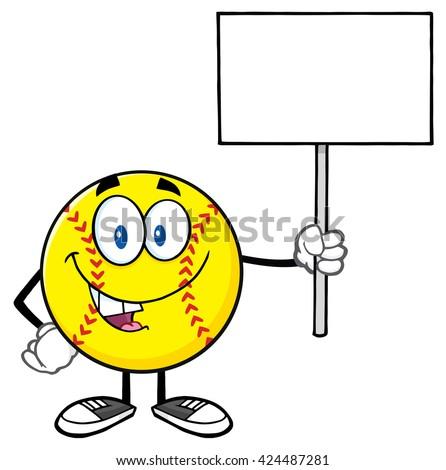 funny softball cartoon mascot