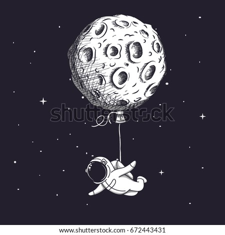 funny spaceman fly with moon
