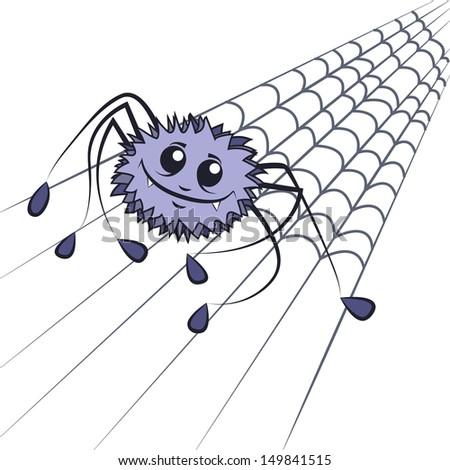 funny spider drawn in cartoon