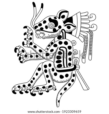 Funny spotted jaguar. Native American art of Aztec Indians. Black and white silhouette. Stockfoto ©