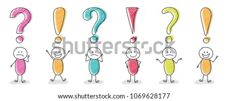 Funny stickmen with question mark and exclamation point icons - big set. Vector.