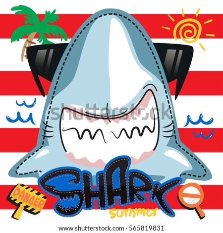 funny summer shark in