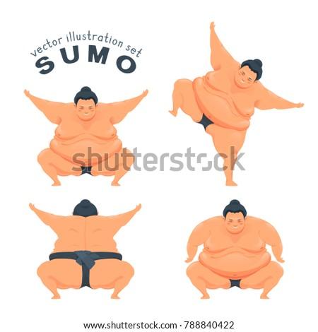funny sumo wrestler vector