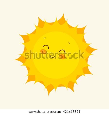 funny sun icon illustration