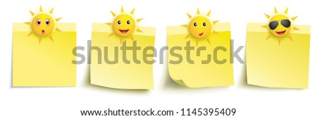 Funny sun smileys with yellow stickers on the white background. Eps 10 vector file.