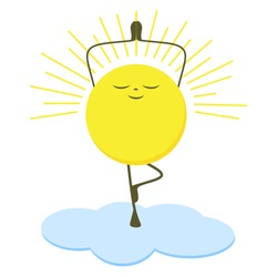 Funny sun stands on the cloud and does yoga, asana