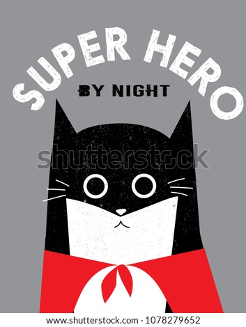 funny super hero cat with