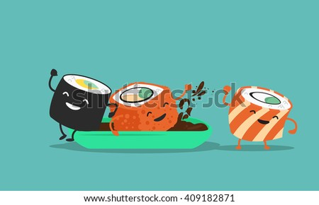 funny sushi. Characters. Vector illustration.