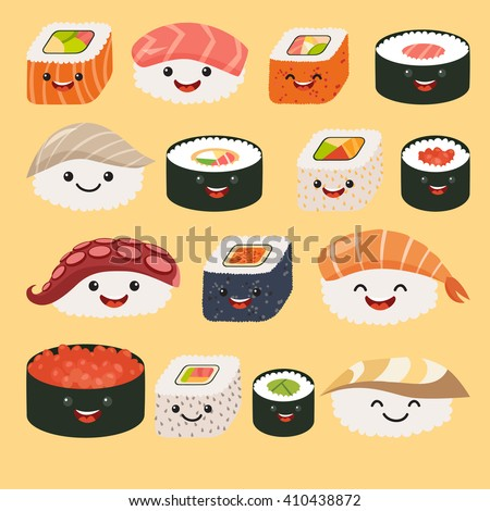 Shutterstock Funny sushi characters with cute faces and sashimi set. Happy sushi characters. Roll funny set. Asian food, vector illustration isolated on white background