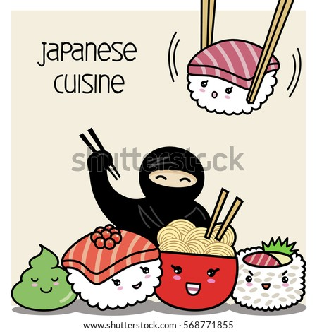 funny sushi  noodles and ninjas