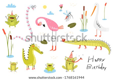 Funny swamp animals, birds, reptiles and nature items collection. Pond living animals: snake, crocodile, frogs, flamingo, duck or heron with reeds and cane. Clipart collection for kids.