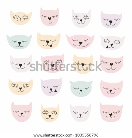 funny sweet smiling cats vector