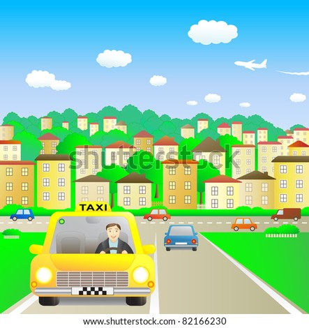 Funny taxi driver in summer city