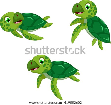 funny three turtle cartoon