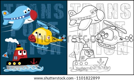 Funny transportations cartoon vector, coloring book or page