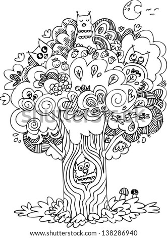 Funny tree with cute howls, black and white sketchy doodle.