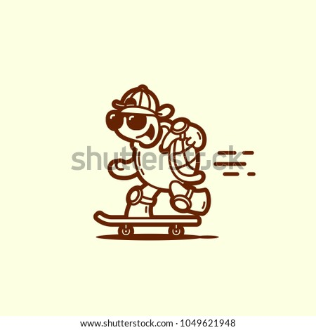 funny turtle on a skateboard in