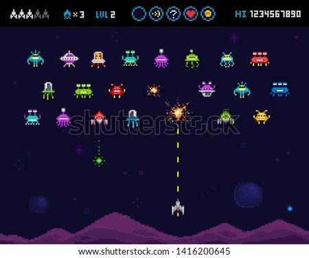Funny ufo invaders, space ships, rockets, monsters and robots - 8 bit pixel elements for arcade and retro video game. Pixelated 8 bit computer vintage game template. Vector illustration