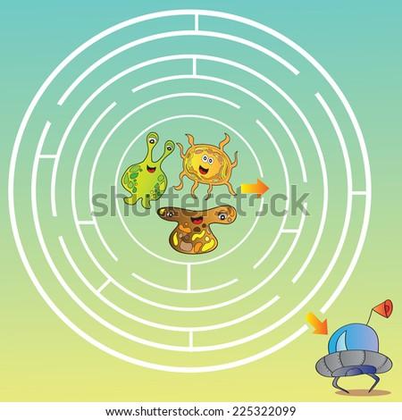 Funny UFO monster maze for kids vector illustration