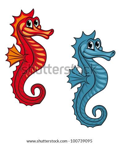 Funny underwater seahorse or hippocampus. Vector illustration