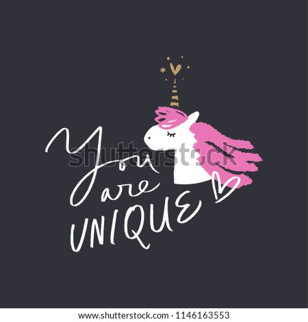 """Funny unicorn head art. Hand lettered """"You are unique"""" text, handwriting, lettering. Stylish print for posters, cards, mugs, clothes and other. Vector Illustration, clipart.  #1146163553"""