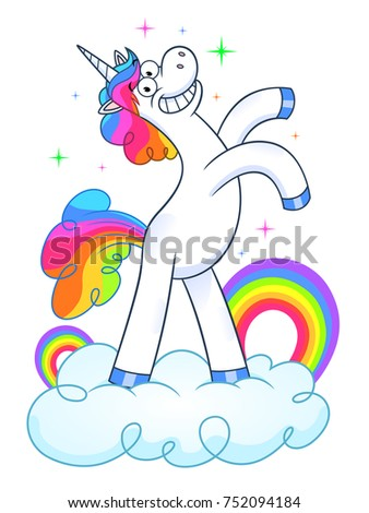 funny unicorn on cloud with