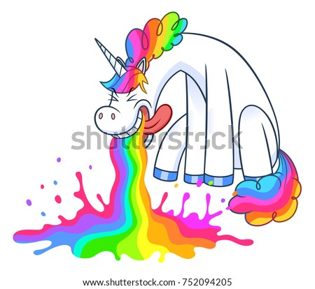 funny unicorn puking rainbow