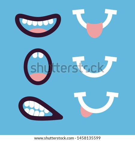 Funny variety of mouths. Cartoon mouths with teeth, tongue. A set of different emotions. Flat style. Vector