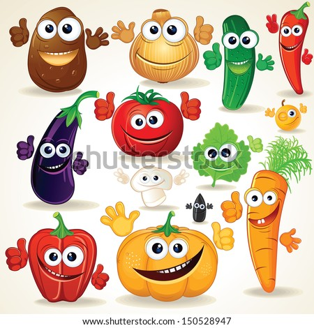Funny Various Cartoon Vegetables. Vector Clip Art