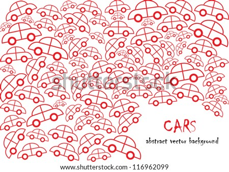 funny vector backdrop design with red cars in silhouette isolated on white background with place for your text
