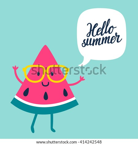 "Funny vector background with watermelon slice in glasses, speech bubble and hand written text ""Hello summer"". Hand drawing summer card."