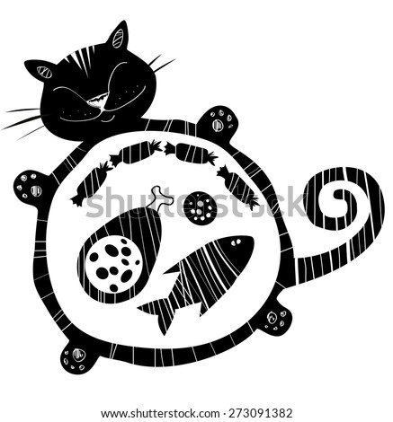 Funny vector black and white cat full of food. Sleeping  funny fat cat. Happy cat silhouette.