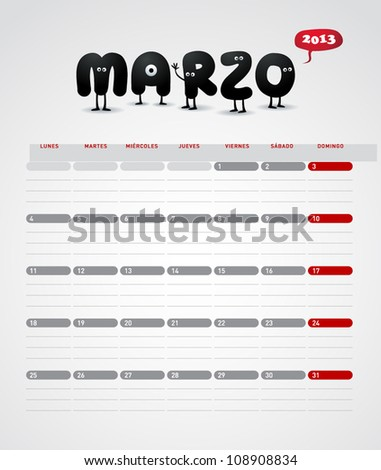 Funny 2013 vector calendar. March. In spanish. - stock vector
