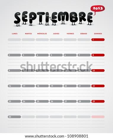 Funny 2013 vector calendar. September. In spanish.