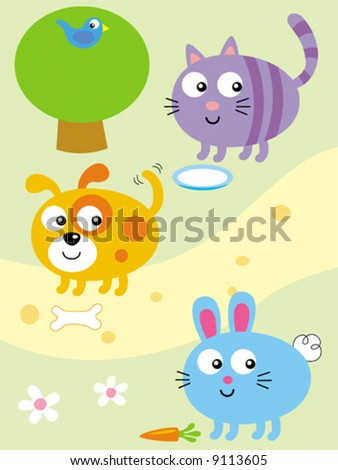 cartoon dog pictures funny. Funny Vector Cartoon Cat, Dog