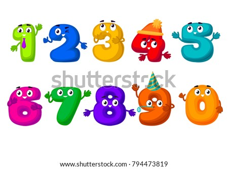 funny vector cartoon numbers