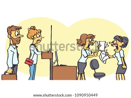 funny vector cartoon of two