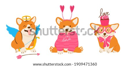 Funny vector corgis for Valentine Day. Amour dog with wings and arrows. Pets in pink sweater and bow with cupcakes. Foto stock ©
