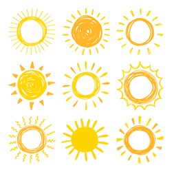 Funny vector doodle suns. Hand drawn set.