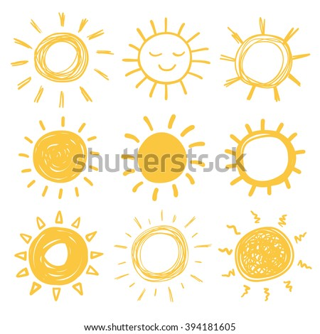 funny vector doodle suns hand