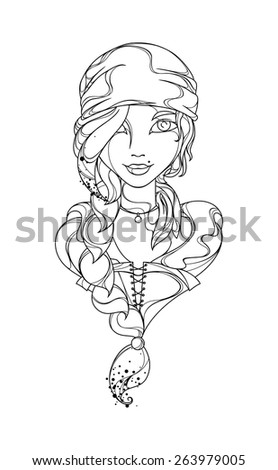 funny vector girl pirate