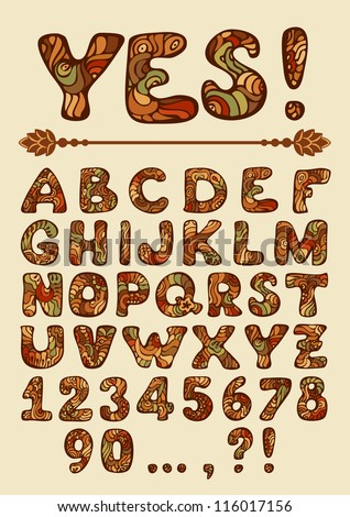 Funny vector hand drawn colorful Alphabet with punctuation marks and digits