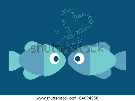 funny vector illustration of two fish in love and heart made of bubbles