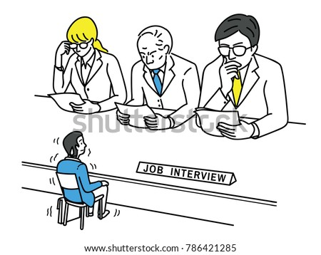 Funny vector illustration of young man, an applicant, feel nervous and himself very small size during job interview, business concept of stressed, worried; nervous in looking job.