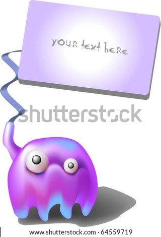 funny vector jellyfish with a poster for the text