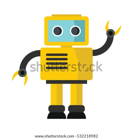 funny vector robot in flat