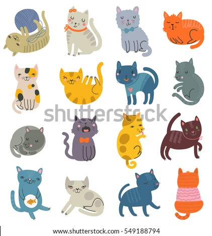 funny vector set of cats