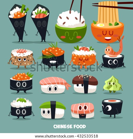 funny vector sushi characters