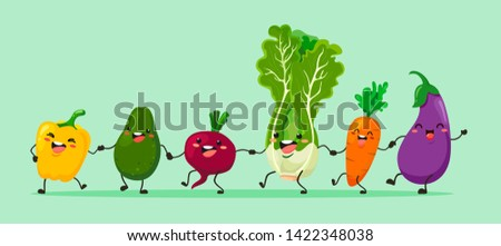 Funny vegetables go hand in hand after each other. Vector vegetable isolates in a cartoon style.
