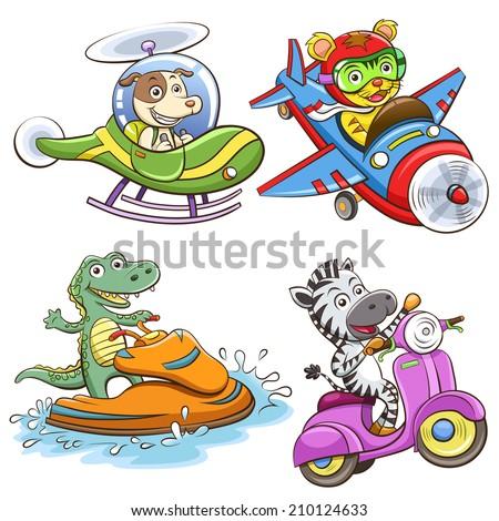 funny vehicle and animal set